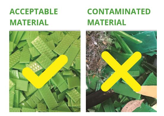 Acceptable material for recycling v contaminated material for recycling