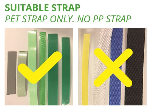 suitable strap for recycling, PET strap only, no PP strap